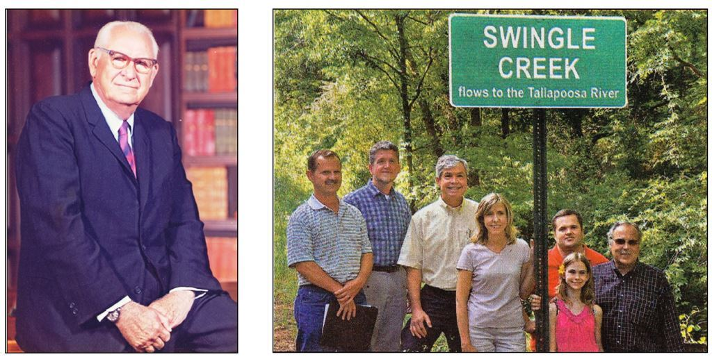 Dr. Swingle, in his office in the Fisheries Department at AU (above, left). New sign officially designating the local stream just north of Loachapoka on Lee County Road 188 as 'Swingle Creek' (above, right; pictured from left to right are Eric Reutebuch, SWaMP coordinator, Dr. William Deutsch, Director of the Alabama Water Watch Program, Dr. David Rouse, Head of the Fisheries Department, Melissa Middlebrooks, Senior Environmental Scientist at ADEM overseeing the SWaMP Watershed Project, and Dr. Swingle's grandson Roger Pierce (far left) and his two children, Jamie and Aleyia Pierce.