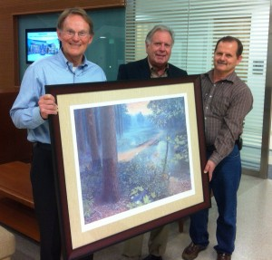 Cliff Webber (left) is presented with the 2013 W. Kelly Mosley Environmental Award by John Jensen (center) and Eric Reutebuch (right) last December.