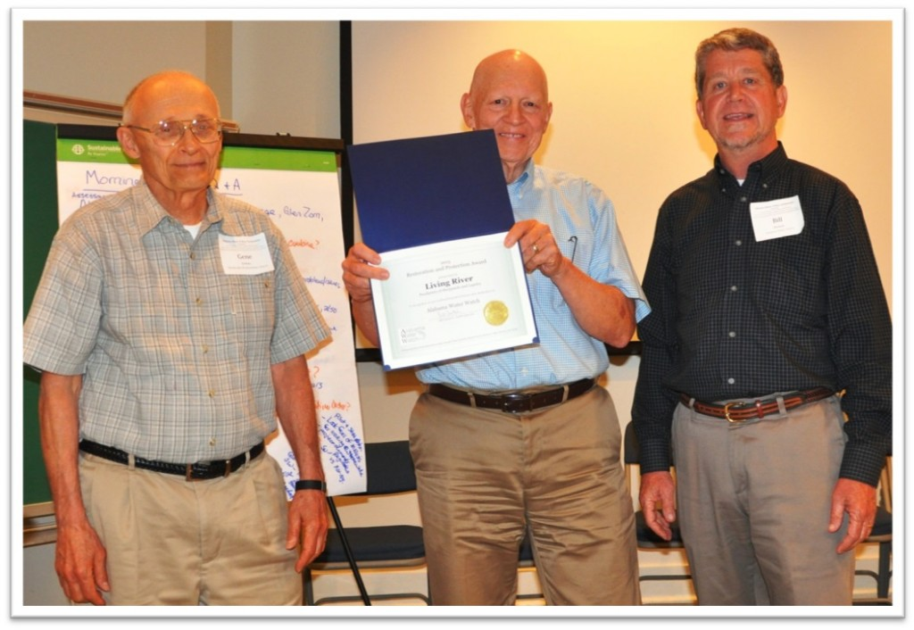 2013 Restoration  and Protection Award Winners: Bill Peters and Gene Grimes (the Living River Center),  pictured above  Gene Grimes, Bill Peters (center), Bill Deutsch.