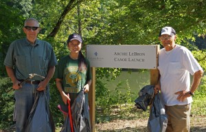 Katie cleaning up litter at the Living River Center on the Cahaba River with her mentors, Bill Peters (left) and Gene Grimes (right)