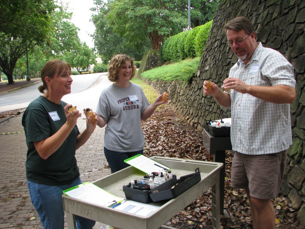 Christina and friends getting trained in AWW water chemistry monitoring protocols in Huntsville in September 2013
