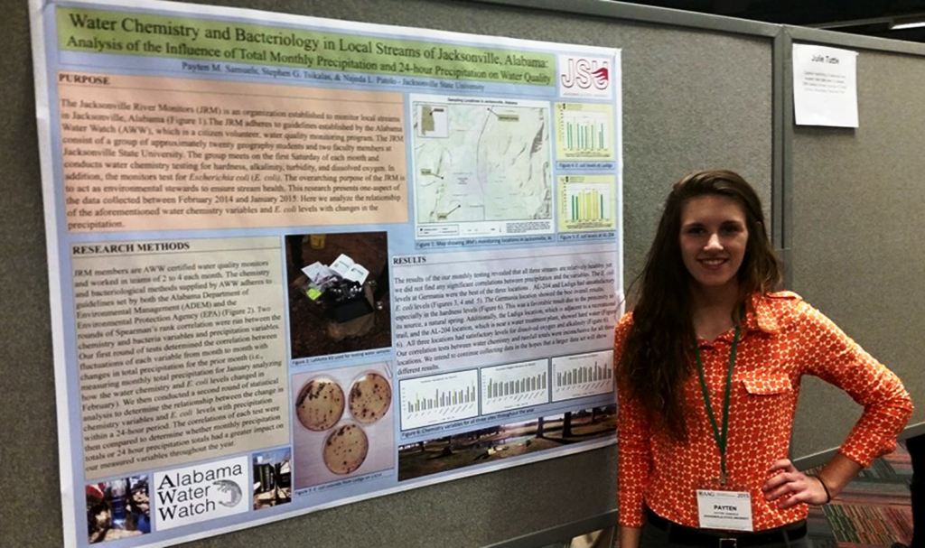 JSU student, Payten Samuels, giving a presentation 'Water Chemistry and Bacteriology in Local Streams of Jacksonville AL: Analysis of the Influence of Total Monthly Precipitation and 24-hour Precipitation on Water Quality' using JSU's AWW water monitoring data at the American Association of Geographers 2015 Conference in Chicago, IL