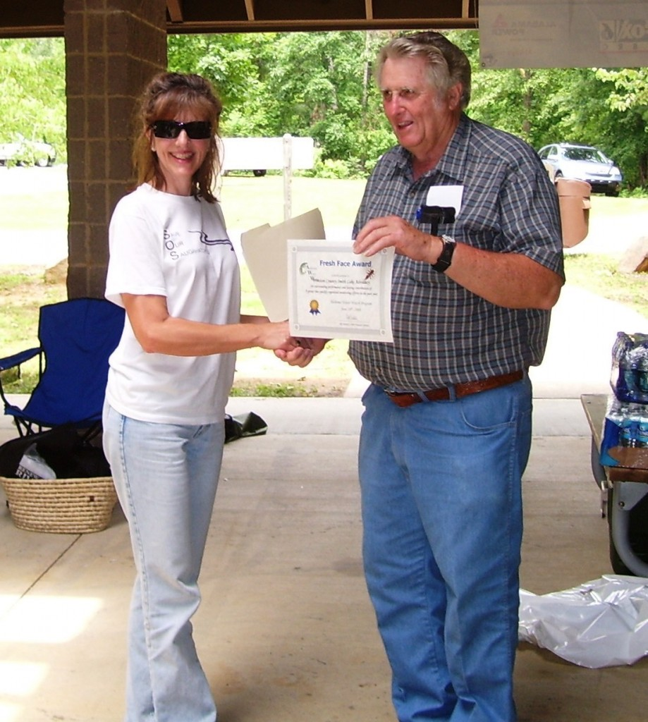 LaVerne receiving AWW's Fresh Face Award from Rita Grub at  a AWW Annual Meeting held on Smith Lake