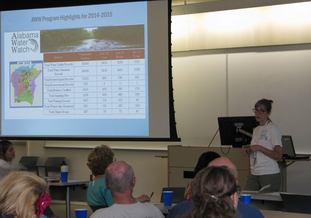Rita Grub, AWW Office Coordinator, updating all on AWW achievements, one of which: over 80,000 online water quality records! GO MONITORS!