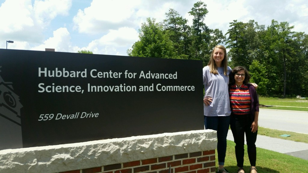 Beth Prior (right) and Sydney Smith, (left) at the CASIC building on the AU campus, where they incubated the bacteriological samples from Parkerson Mill Creek