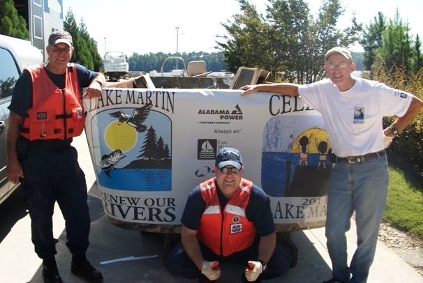 Mike working with the Renew Our Rivers program to clean up Lake Martin