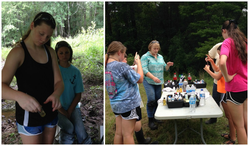 Autumn Younge conducting the dissolved oxygen test and Flo Peters guiding 4-H AWW club members through chemistry tests on the banks of Bassetts Creek in Hobson.