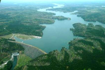 Beautiful Smith Lake at the dam, seen from the air.
