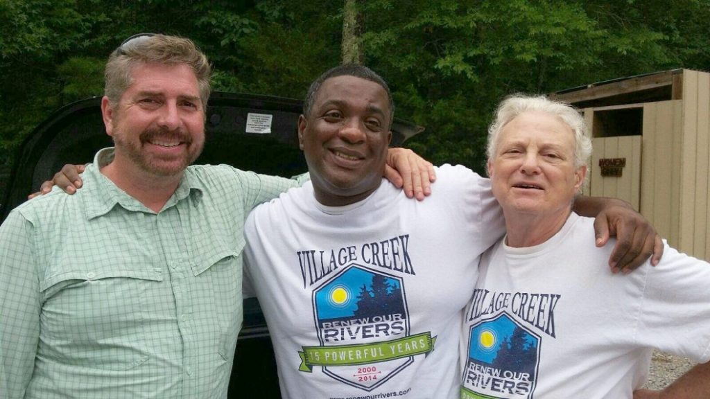 Marty pictured on the left after a Village Creek Society Outreach Event