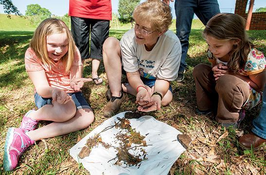 Dadeville Elementary School students get hands-on science lesson from Lake Watch of Lake Martin water monitor and trainer, Judy Palfrey (source: Cliff Williams /The Record, 5/14/2015).