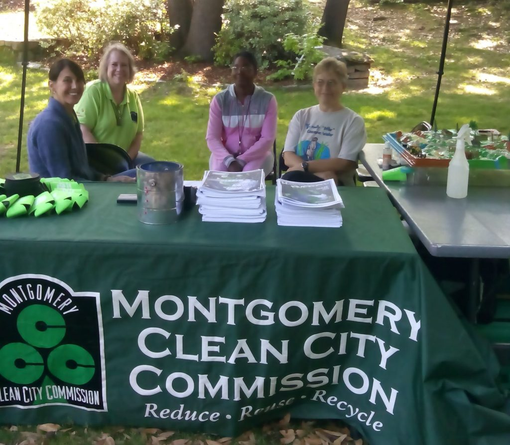 Judy (on right) promoting 'Reduce-Reuse-Recycle' with friends at the Montgomery Clean City Commission.