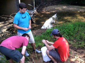 Stephen and students conducting a bit more 'seasonable' sampling on a local stream.