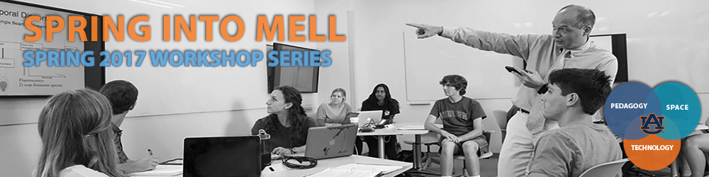 Spring into Mell 2017 graphic - Pedagogy, Space and Technology at Auburn University