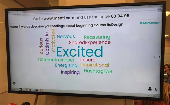 Faculty's first day Mentimeter, the most popular word was: Excited.