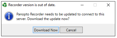 Panopto for Windows upgrade prompt