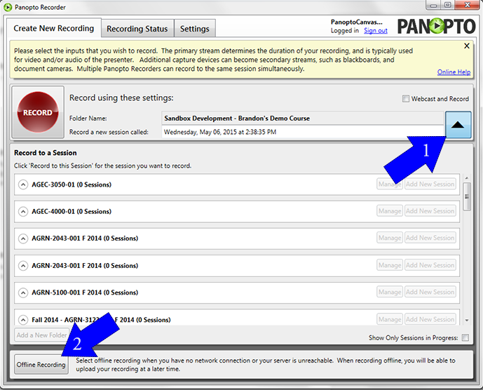 Screenshot, select the offline recording option from the Panopto console