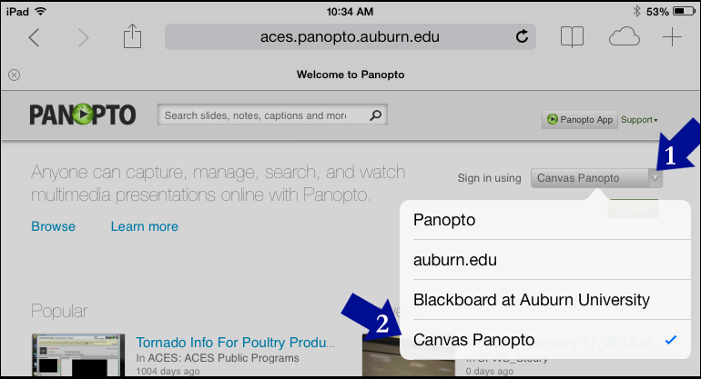 screenshot, choose to sign in using Canvas Panopto from the menu