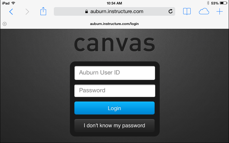 screenshot, signing in using Auburn credentials