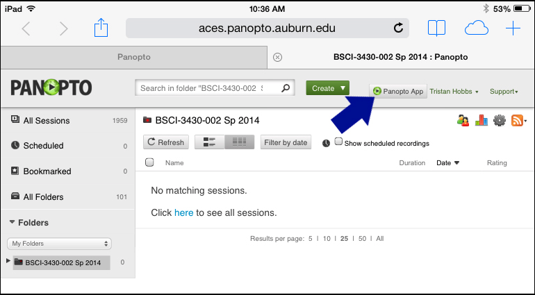 screenshot, use the button to launch the Panopto app