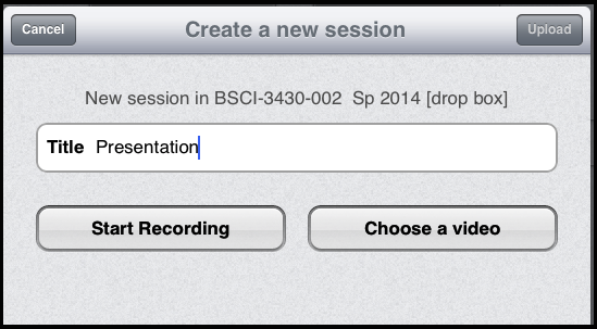 screenshot, naming a video session