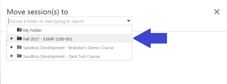 screenshot, select the course from the drop down, or use your keyboard to start typing the name of your course