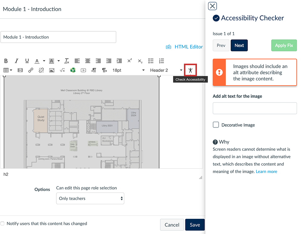 choose the accessibility checker icon to begin checking your page
