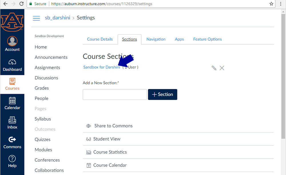 Screenshot - one in the sections tab, click the name of the course that appears under Course Sections