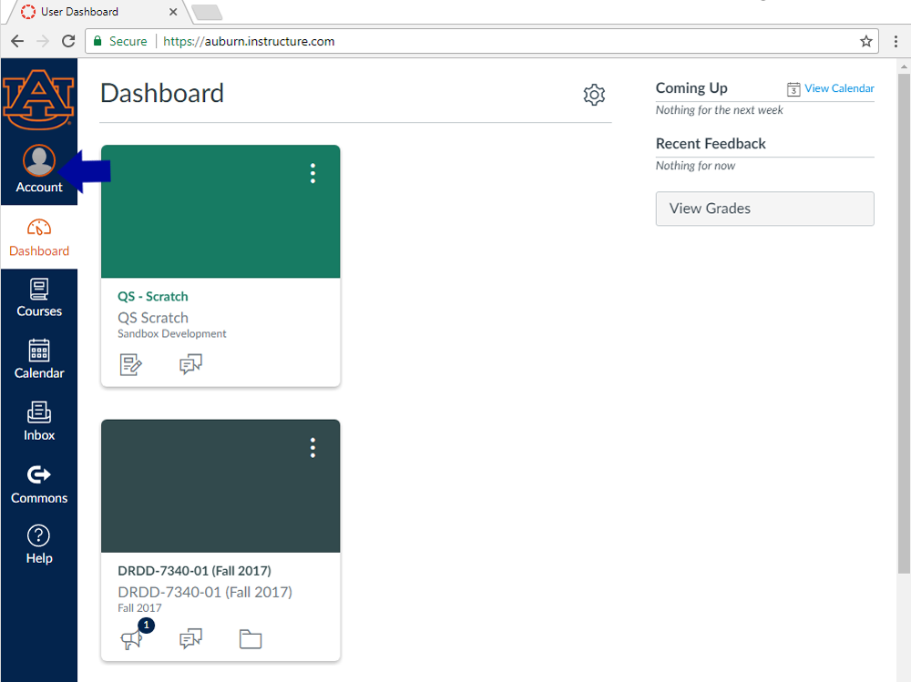 selecting account from user dashboard