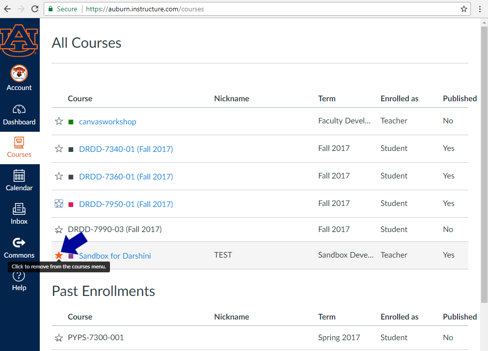 Orange starred courses will appear on your dashboard