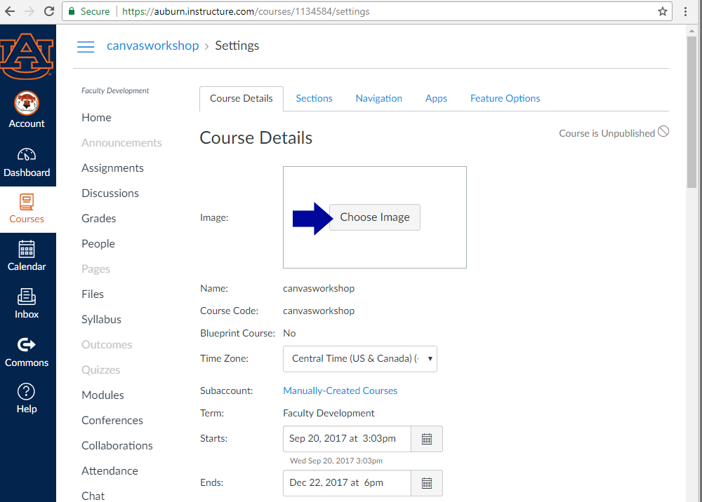 expanding the courses menu, then choosing all courses