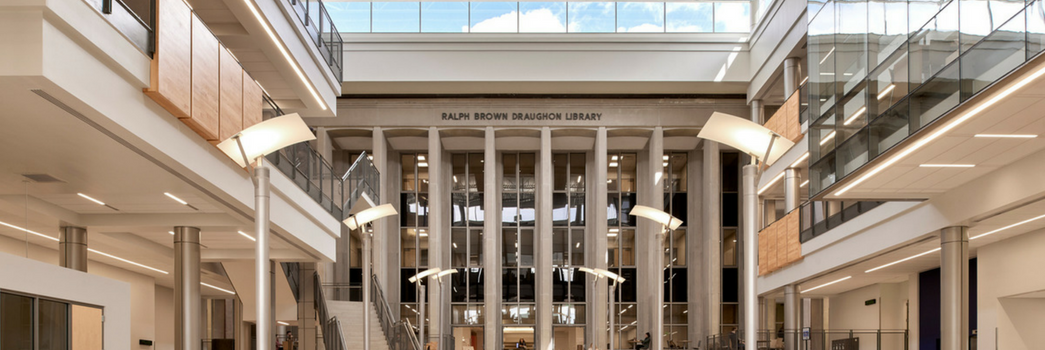 Front Entrance of the Auburn University Library within the Mell Atrium