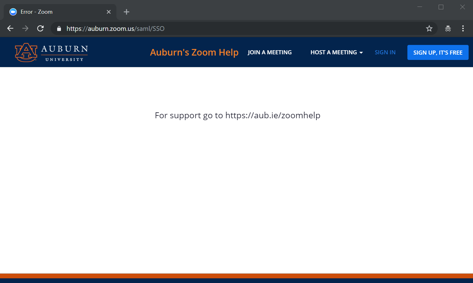 Zoom Error 1000 - the user is notified to contact support, because their account already exists