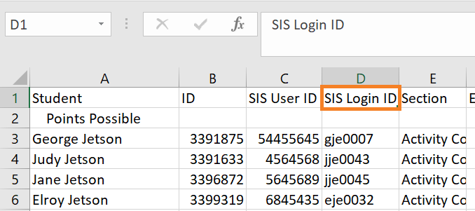 Renaming the SIS Login ID column in Excel