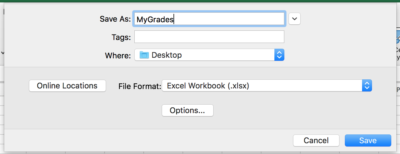 Be sure to save as XLSX on your Mac
