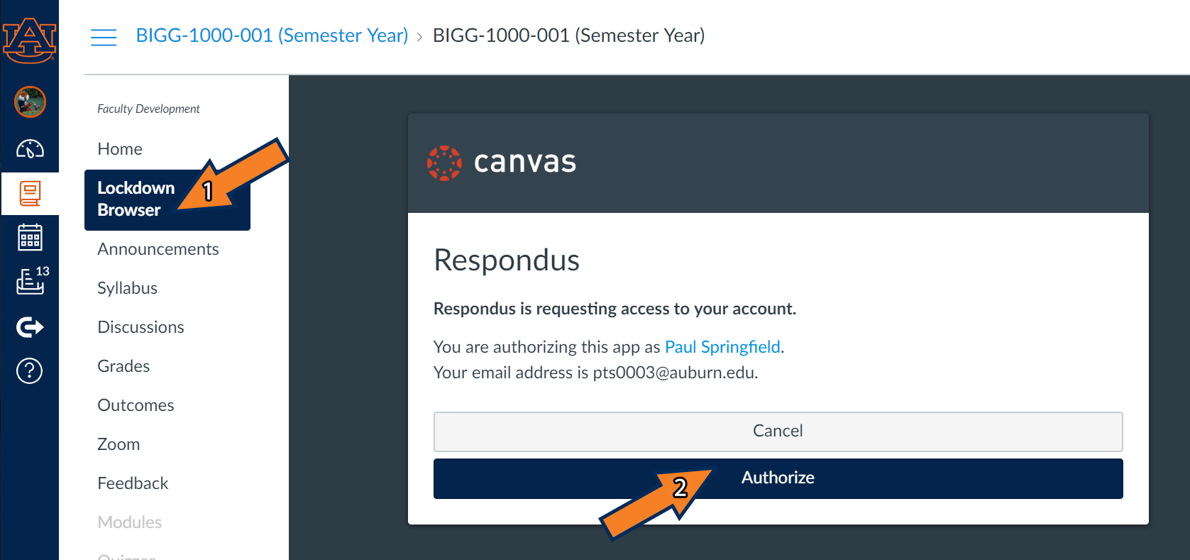 Signing in to Lockdown Browser using your Auburn Canvas credentials