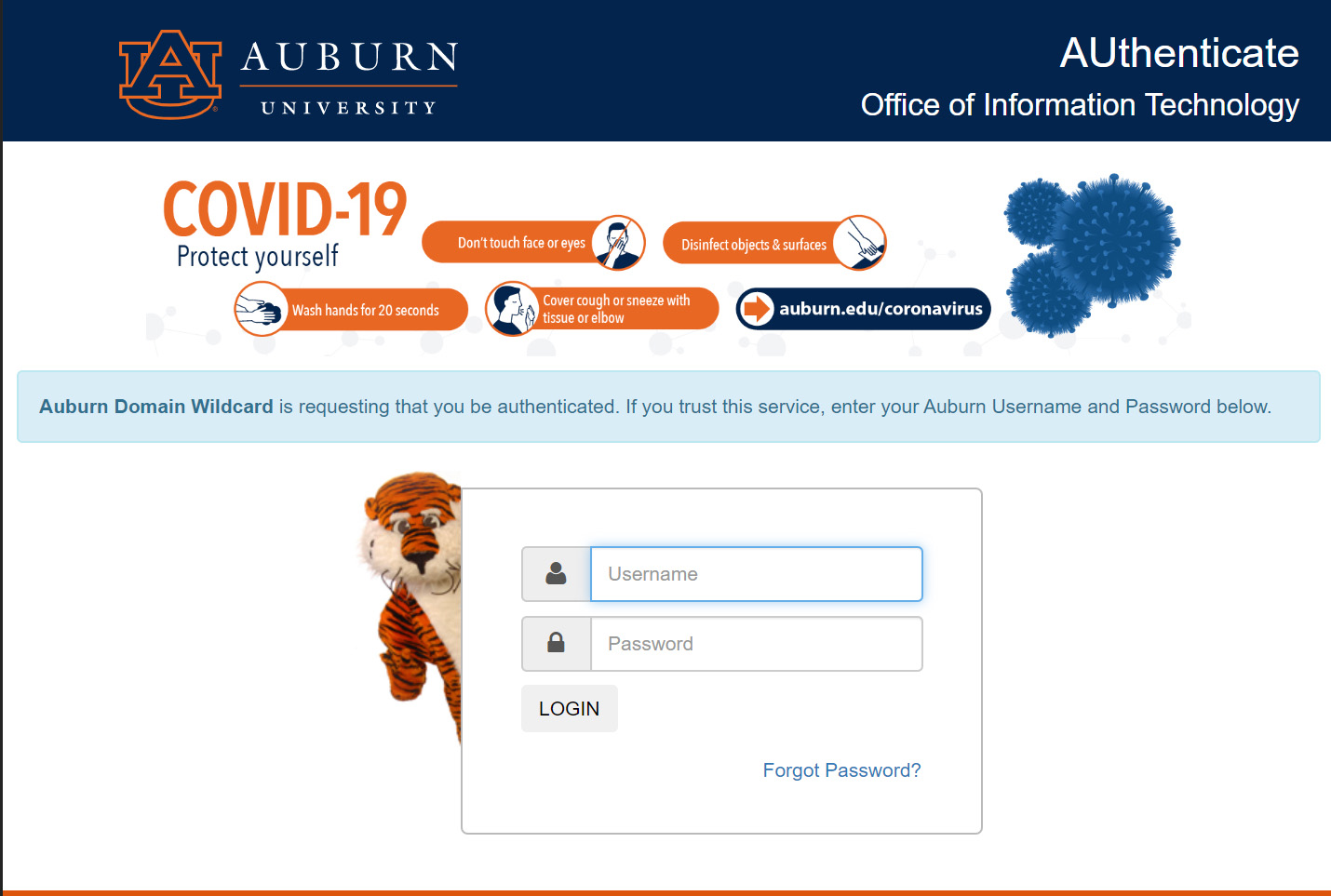 using auburn credentials for single-sign on