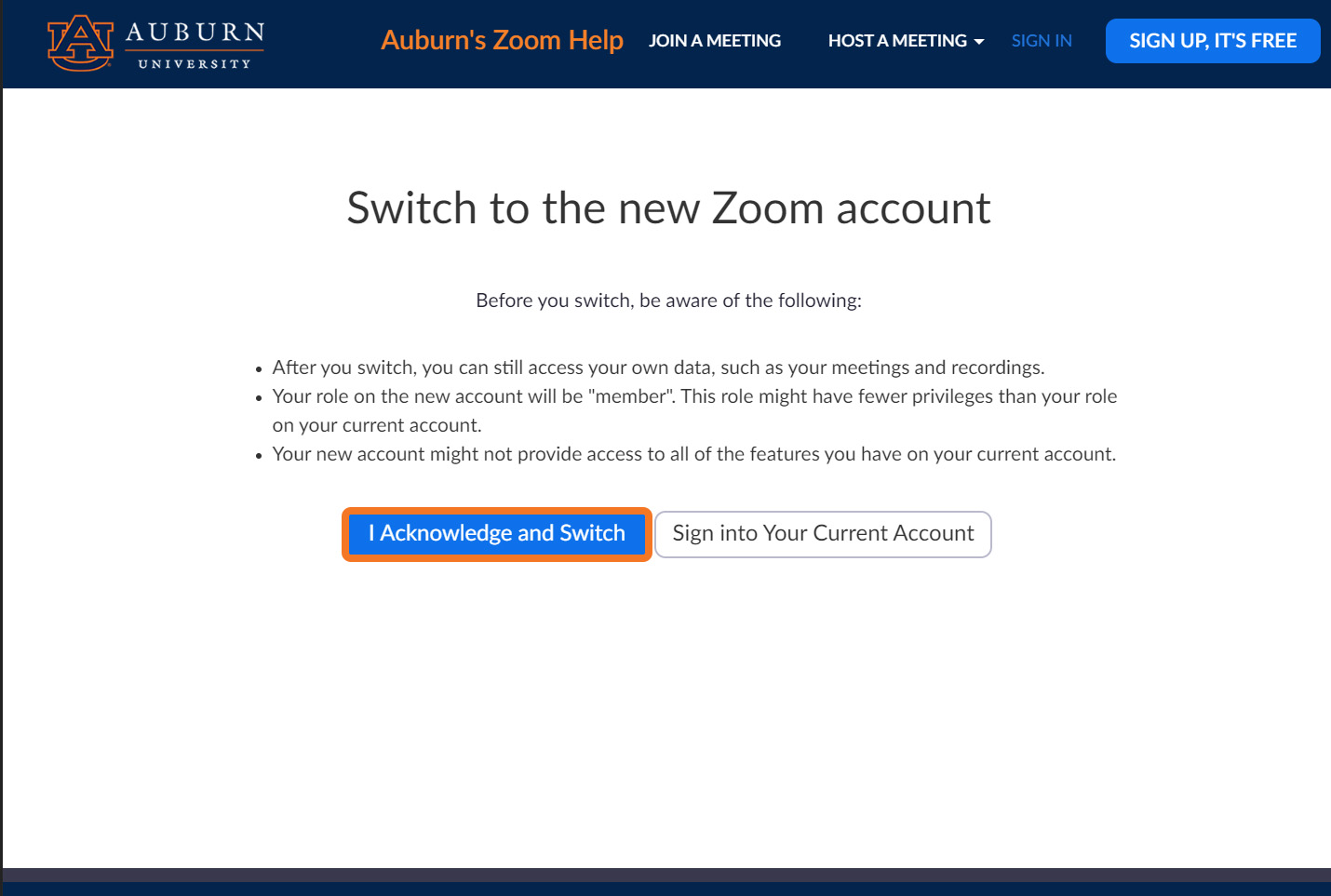 switching accounts by confirming the switch