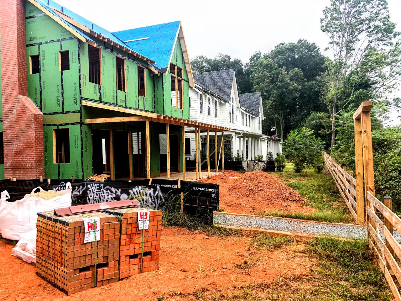 Houses are almost complete near urban trail