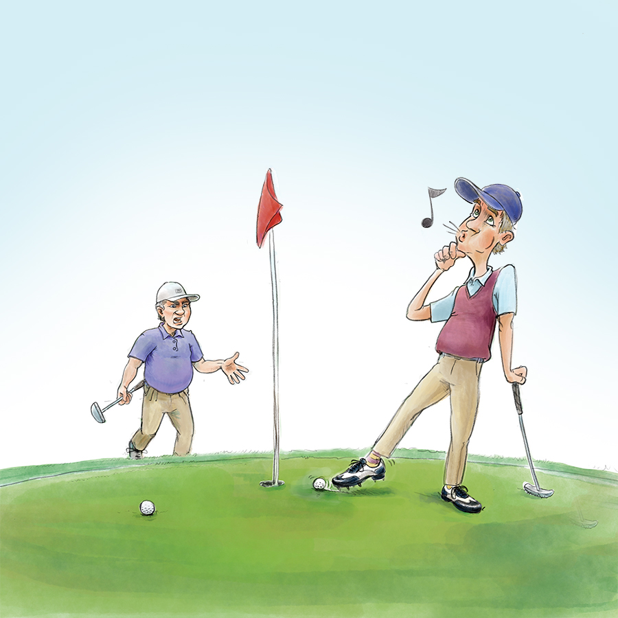 Golfer nudging ball into hole