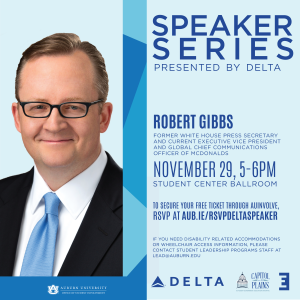 Flyer advertising Delta Speaker Series featuring Robert Gibbs