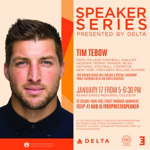 Flyer advertising Delta Speaker Series featuring