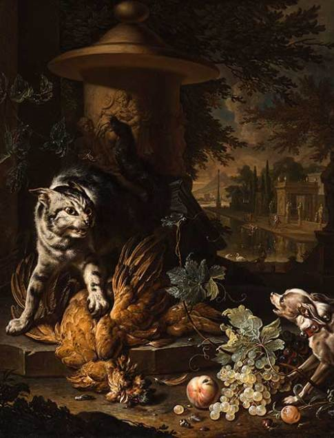 Dirk Valckenburg (Dutch, 1675–1721)  A Cat Protecting Spoils from a Dog, 1717  Oil on canvas  39 7/8 x 31 . x 7/8 in.  49 1/8 x 40 7/8 x 1 7/8 in.  Collection of the Speed Art Museum, Museum purchase with funds from the estate of Alice Speed Stoll and anonymous donors 2005.18