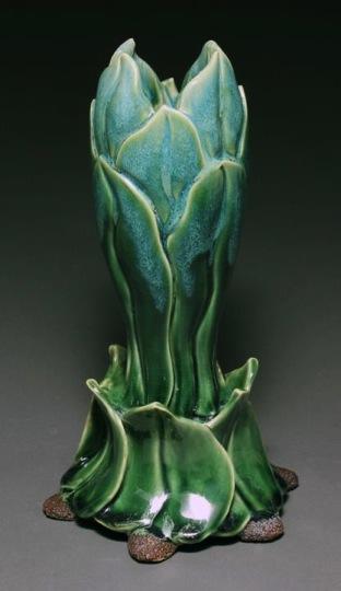 Lynnette Hesser (Wellington, Alabama, b. 1958) Green Carved Flower Vase on Leaf Pedestal, 2012 White stoneware, cone 6 oxidation 12 H x 5 W x 5 D inches