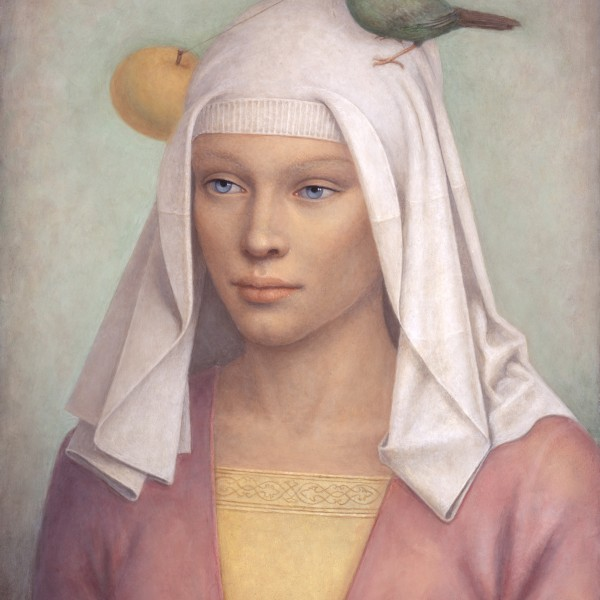 Victor Koulbak, Eve with a Bird, 2012, Oil on canvas, 16 x 13