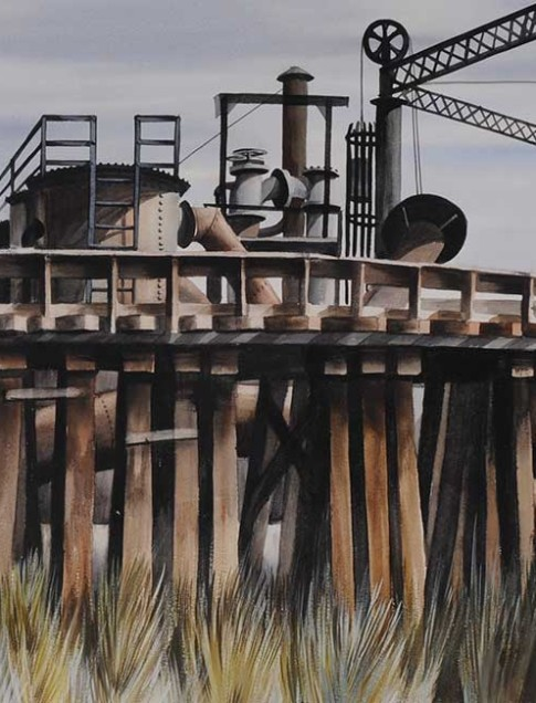 Edmund Lewandowski (American, 1914–1998) Industrial Plant, 1939  Watercolor and gouache 16 x 22 inches  Jule Collins Smith Museum of Fine Art, Auburn University gift of Noel and Kathryn Dickinson Wadsworth 1982.1.1