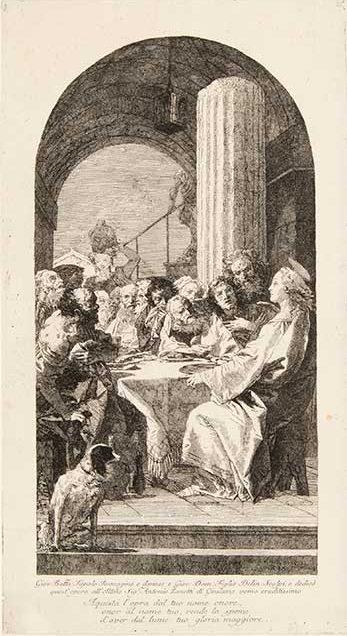 Giovanni Domenico Tiepolo (Italian, 1727–1804) After Giovanni Battista Tiepolo (Italian, 1696–1770) Cena Domini (The Last Supper) Etching First state of two Courtesy Pia Gallo
