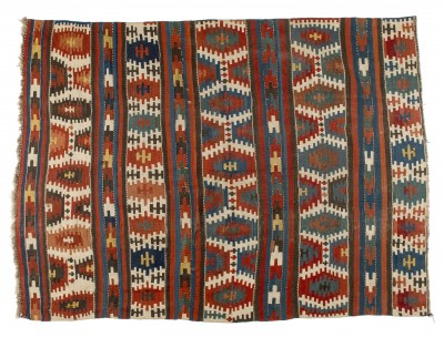 "Transcaucasian Kilim, late 19th – early 20th century, 5'1"" x 6'11"", collection of Larry Gerber"
