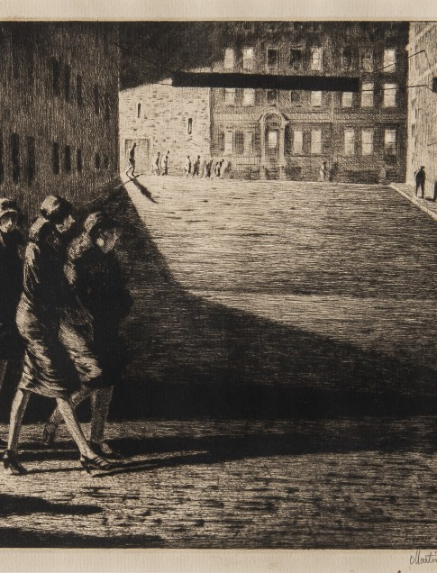 Martin Lewis (American, b. Australia, 1881–1962), Shadows on the Ramp, 1927, Drypoint and sand ground, edition: 75 recorded impressions, collection of Robert B. Ekelund, Jr. and Mark Thornton