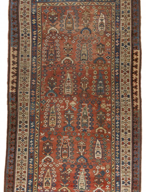"Shirvan rug, possibly Karabagh, ca. 1900, 4'7"" x 7'8"", botteh design in the field, collection of Larry Gerber"
