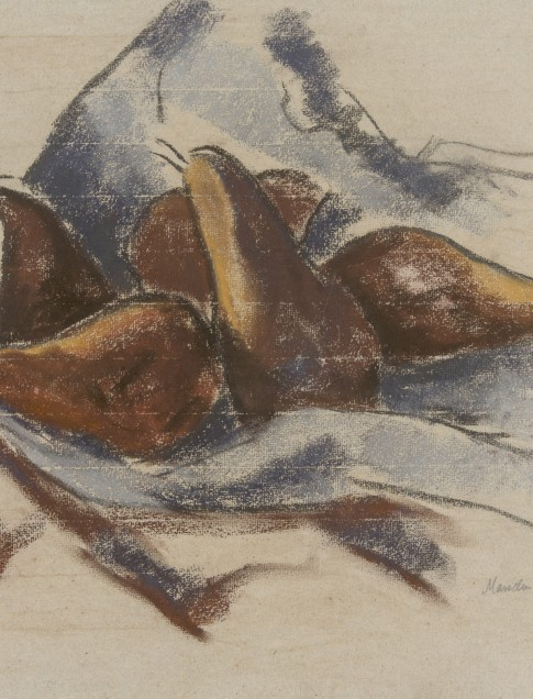 Marsden Hartley (American, 1878–1943), Still Life with Pears, pastel on laid tan paper with blue fibers, collection of Robert B. Ekelund, Jr. and Mark Thornton